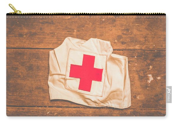Ww2 Nurse Cap Lying On Wooden Floor Carry-all Pouch
