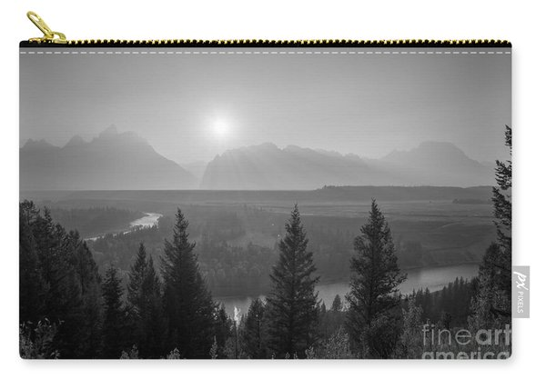 Wyoming Sunset At Snake River Bw Carry-all Pouch