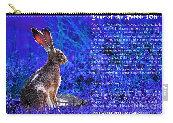 Year Of The Rabbit 2011 . Blue Carry-all Pouch