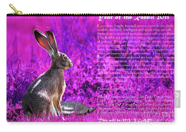 Year Of The Rabbit 2011 . Magenta Carry-all Pouch