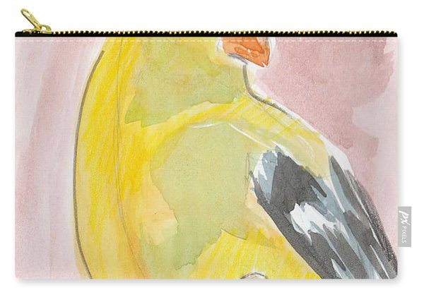 Carry-all Pouch featuring the painting Yellow Bird 56 by Loretta Nash