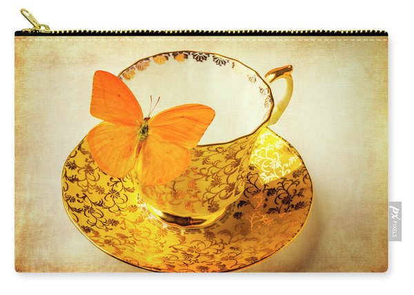 Yellow Butterfly On Yellow Tea Cup Carry-all Pouch