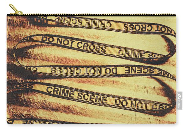 Yellow Crime Scene Ribbon On Metal Background Carry-all Pouch