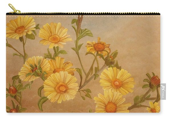 Carry-all Pouch featuring the painting Yellow Daisies by Angeles M Pomata