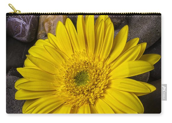 Yellow Daisy On River Stones Carry-all Pouch