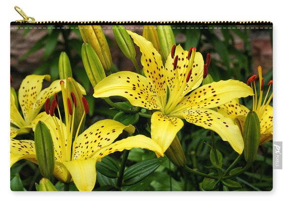 Carry-all Pouch featuring the photograph Yellow Lilies by William Selander