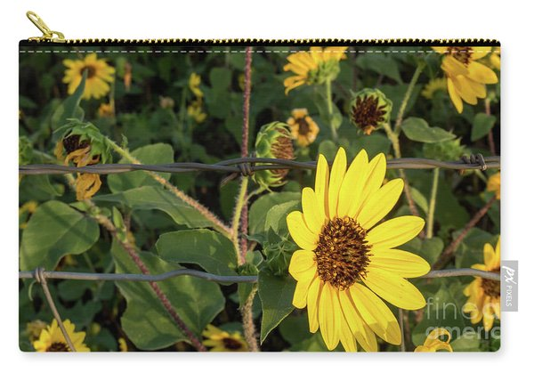 Yellow Flower Escaping From A Barb Wire Fence Carry-all Pouch