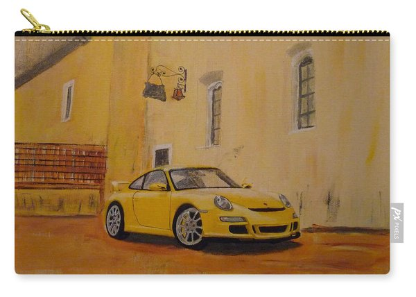 Carry-all Pouch featuring the painting Yellow Gt3 Porsche by Richard Le Page