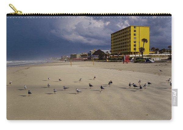 Yellow Hotel Blue Sky And Birds On Daytona Beach Florida Carry-all Pouch