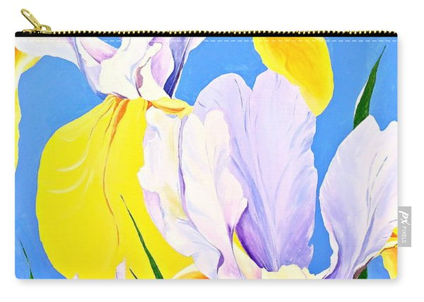 Carry-all Pouch featuring the painting Yellow Irises-posthumously Presented Paintings Of Sachi Spohn  by Cliff Spohn
