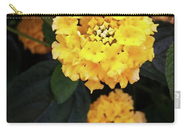 Carry-all Pouch featuring the photograph Yellow Lantanas Along The Scenic Drive by Mr Photojimsf