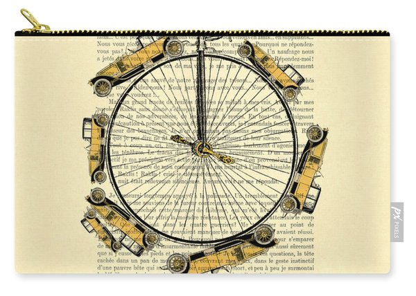 Yellow Oldtimers On A Bicycle Wheel Antique Illustration On Book Page Carry-all Pouch