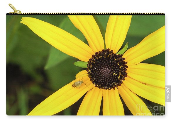 Yellow Petaled Flower With Bug Carry-all Pouch