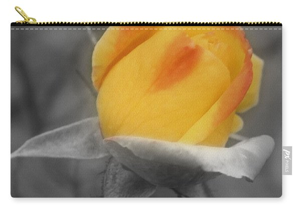 Yellow Rosebud Partial Color Carry-all Pouch