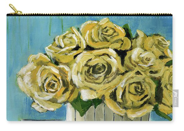 Yellow Roses In Vase Carry-all Pouch