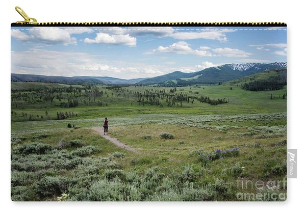 Carry-all Pouch featuring the photograph Yellow Stone Mountains by Mae Wertz