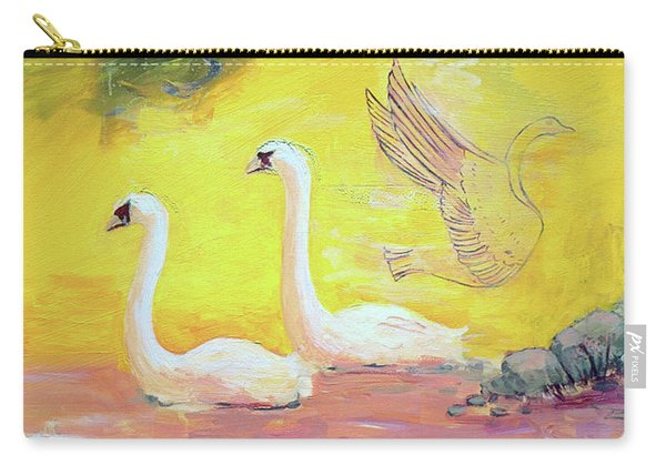 Yellow Swans With Love Potions Carry-all Pouch
