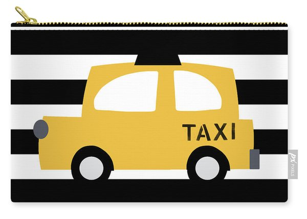 Yellow Taxi With Stripes- Art By Linda Woods Carry-all Pouch