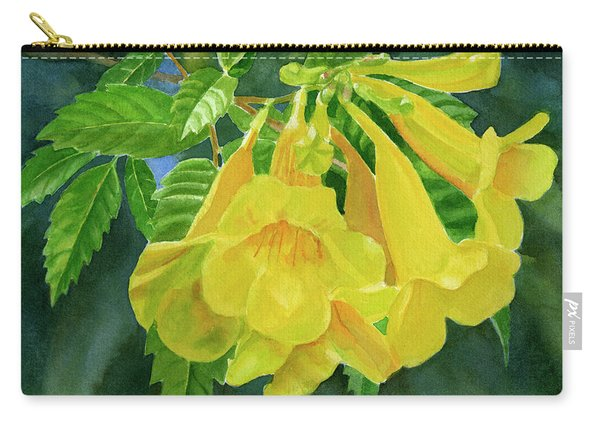 Yellow Trumpet Flowers With Dark Background Carry-all Pouch