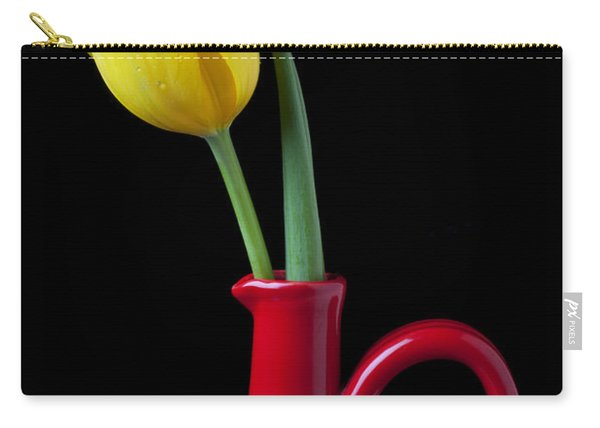 Yellow Tulip In Red Pitcher Carry-all Pouch
