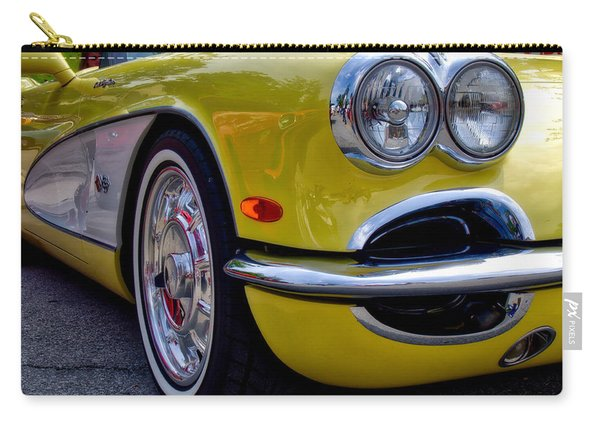 Carry-all Pouch featuring the photograph Yellow Vette by Michael Colgate