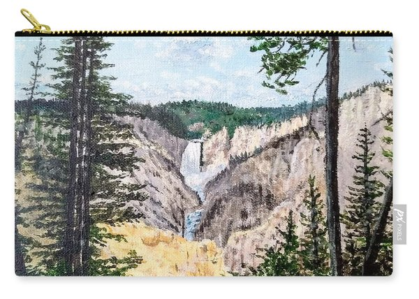 Carry-all Pouch featuring the painting Yellowstone Falls by Kevin Daly