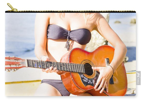 Young Attractive Blonde Woman Playing Guitar Carry-all Pouch