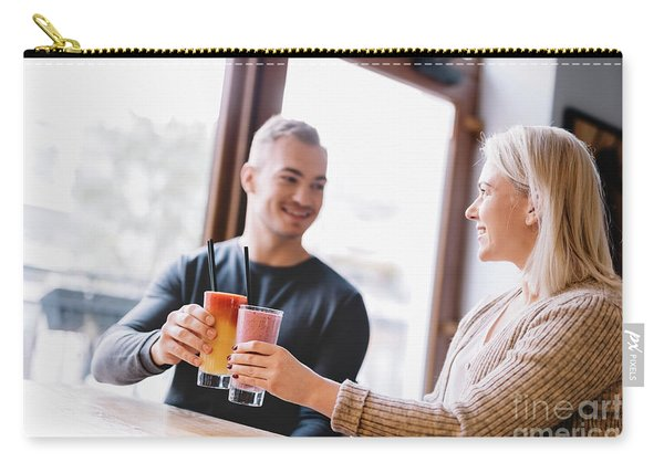 Young Couple With A Drink Spending Time Together. Carry-all Pouch