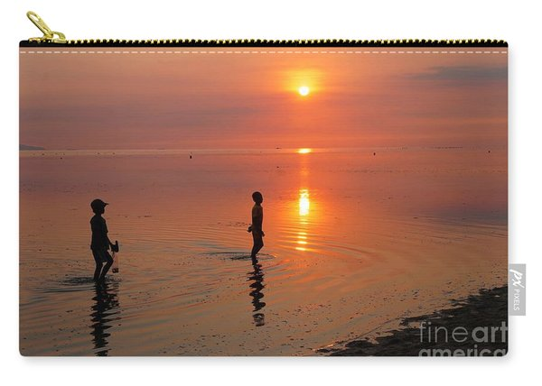 Young Fishermen At Sunset Carry-all Pouch