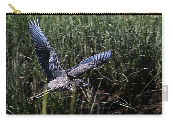 Carry-all Pouch featuring the photograph Young Heron Takes Flight by William Selander