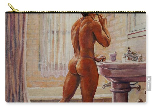 Young Man Shaving Carry-all Pouch