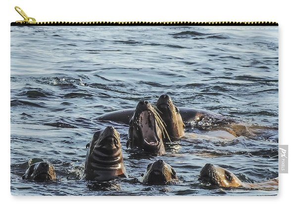 Young Sea Lions At Play Carry-all Pouch