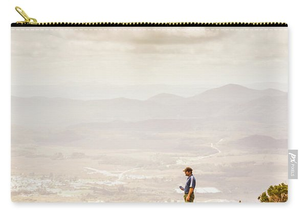 Young Traveler Looking At Mountain Landscape Carry-all Pouch