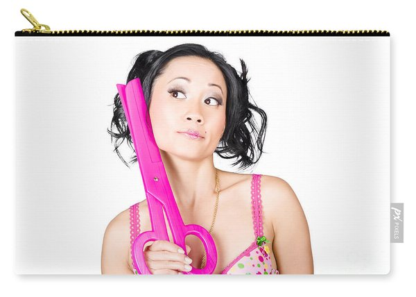 Young Woman Barber Holding Large Pink Scissors Carry-all Pouch