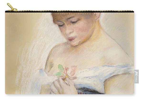 Young Woman Holding A Flower. Portrait Of Jeanne Samary Carry-all Pouch