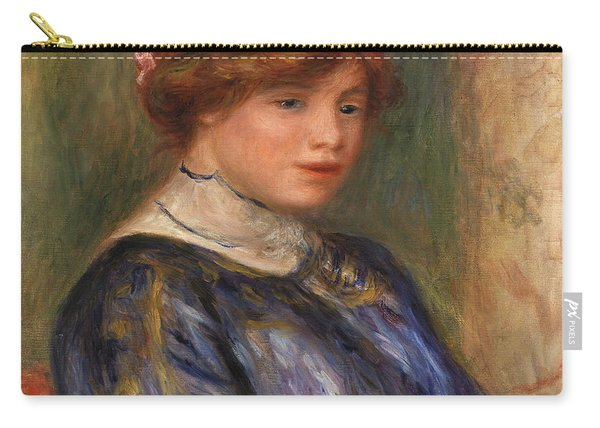Young Woman In Blue, Bust Carry-all Pouch