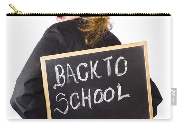 Young Woman With Chalk Board Carry-all Pouch