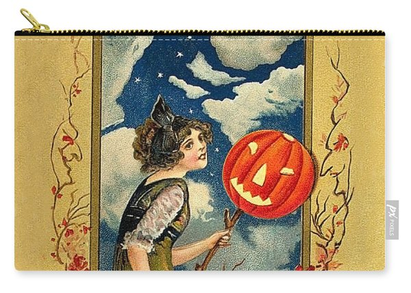 Young Woman With Jack O' Lantern Carry-all Pouch