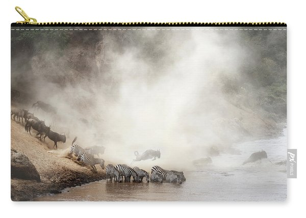 Zebra And Wildebeest Migration In Africa Carry-all Pouch