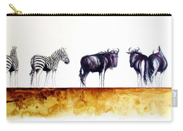 Zebra And Wildebeest Carry-all Pouch