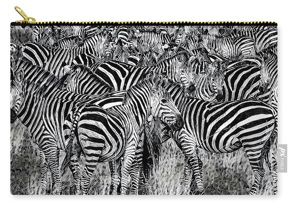 Zebra - Black And White Carry-all Pouch