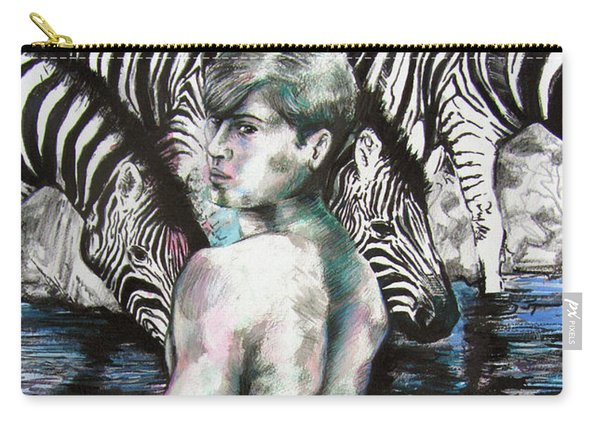 Zebra Boy Looking Back Carry-all Pouch