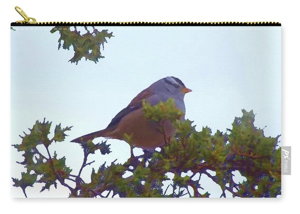 White Crowned Sparrow In Cedar Carry-all Pouch