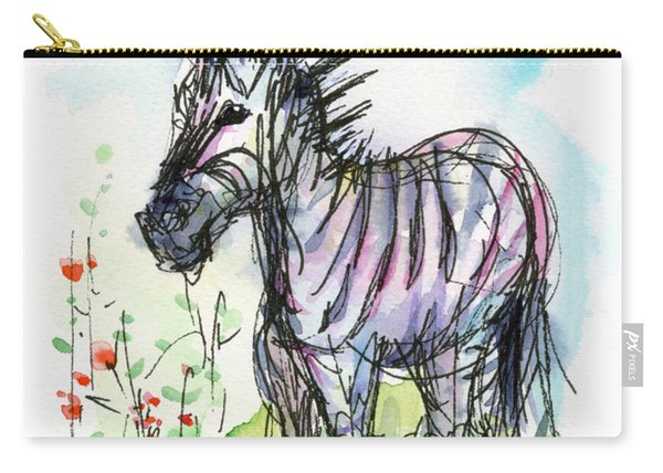 Zebra Painting Watercolor Sketch Carry-all Pouch