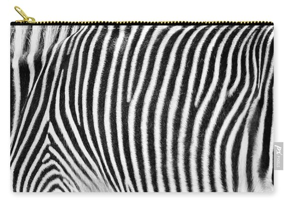 Zebra Print Black And White Horizontal Crop Carry-all Pouch