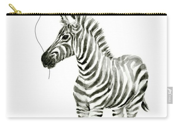 Zebra Watercolor Whimsical Animal With Balloon Carry-all Pouch