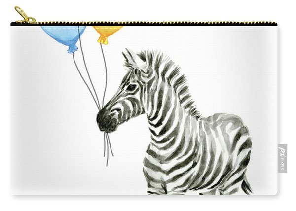 Zebra Watercolor With Balloons Carry-all Pouch