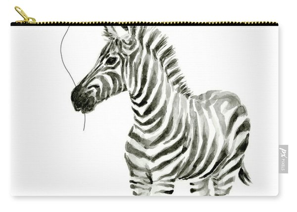 Zebra With Red Balloon Whimsical Baby Animals Carry-all Pouch