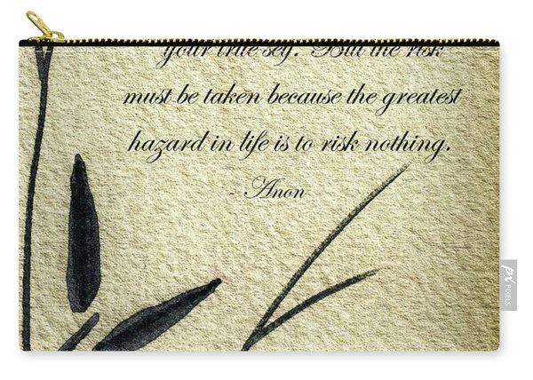 Zen Sumi 4m Antique Motivational Flower Ink On Watercolor Paper By Ricardos Carry-all Pouch