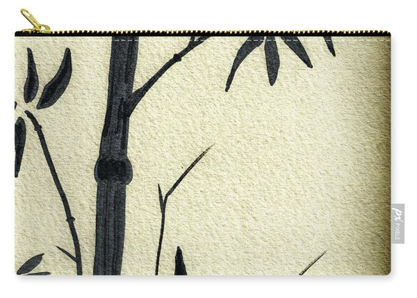 Zen Sumi Antique Bamboo 1a Black Ink On Fine Art Watercolor Paper By Ricardos Carry-all Pouch
